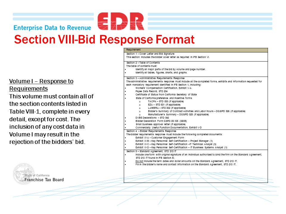 Section VIII-Bid Response Format Volume I – Response to Requirements This volume must contain all of the section contents listed in Table VIII-1, comp