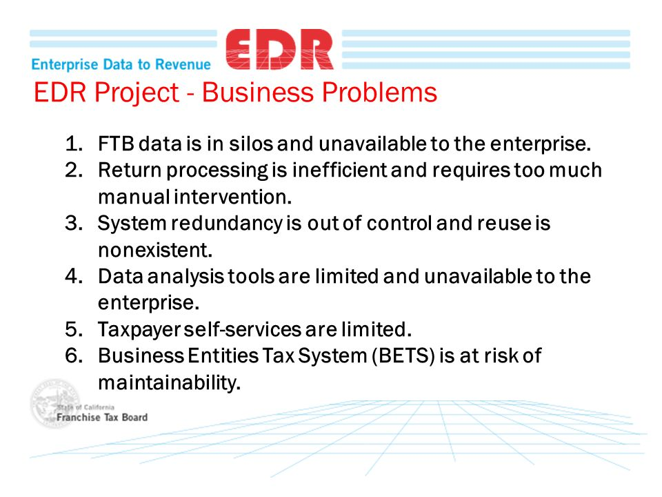 EDR Project - Business Problems 1.FTB data is in silos and unavailable to the enterprise. 2.Return processing is inefficient and requires too much man