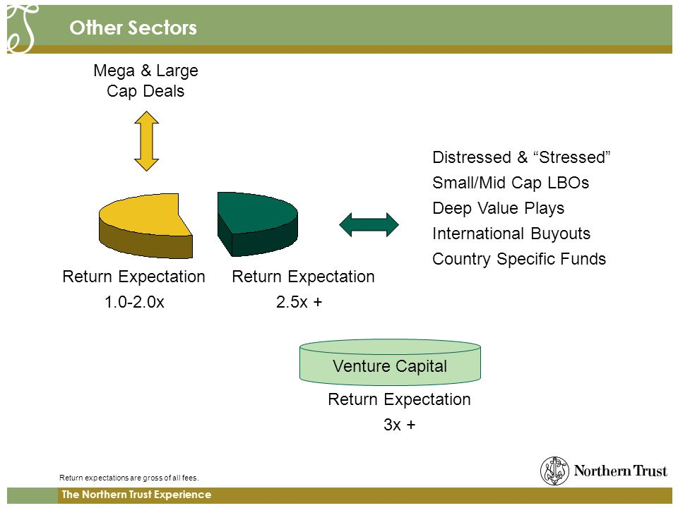 The Northern Trust Experience Other Sectors Distressed & Stressed Small/Mid Cap LBOs Deep Value Plays International Buyouts Country Specific Funds Meg