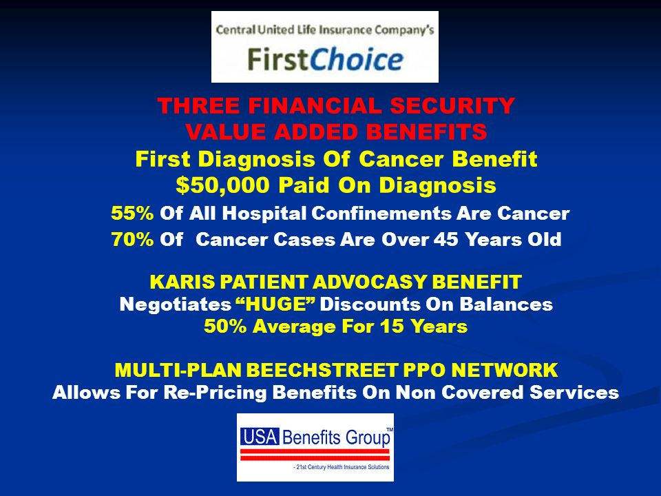 THREE FINANCIAL SECURITY VALUE ADDED BENEFITS First Diagnosis Of Cancer Benefit $50,000 Paid On Diagnosis 55% Of All Hospital Confinements Are Cancer