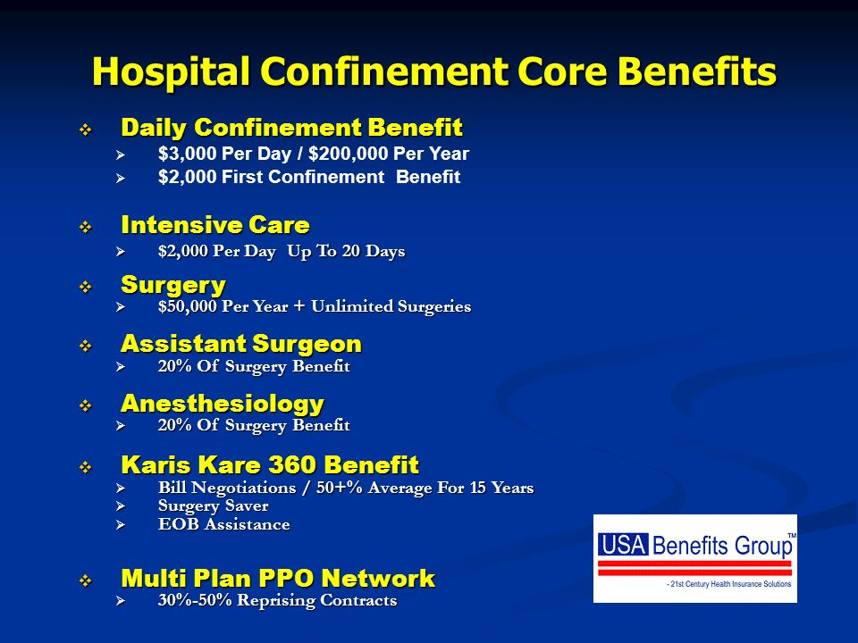 Hospital Confinement Core Benefits Daily Confinement Benefit Daily Confinement Benefit $3,000 Per Day / $200,000 Per Year $2,000 First Confinement Ben
