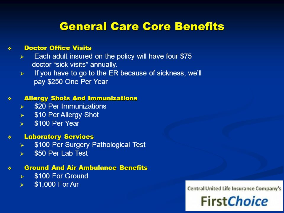 General Care Core Benefits Doctor Office Visits Doctor Office Visits Each adult insured on the policy will have four $75 doctor sick visits annually.
