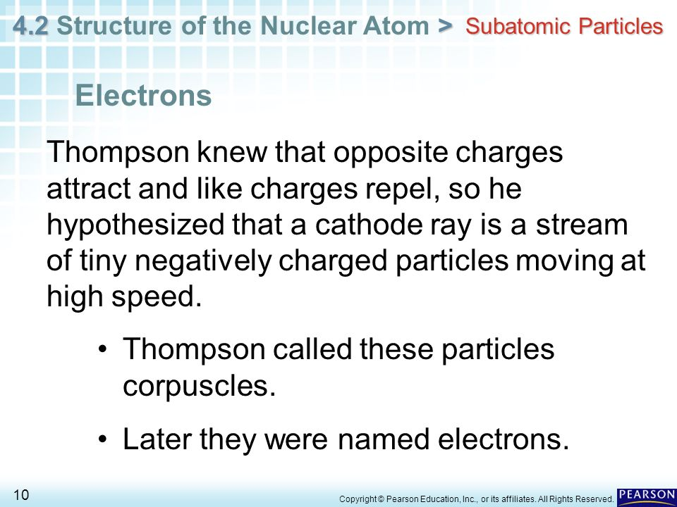 4.2 > 4.2 Structure of the Nuclear Atom > 10 Copyright © Pearson Education, Inc., or its affiliates. All Rights Reserved. Subatomic Particles Thompson