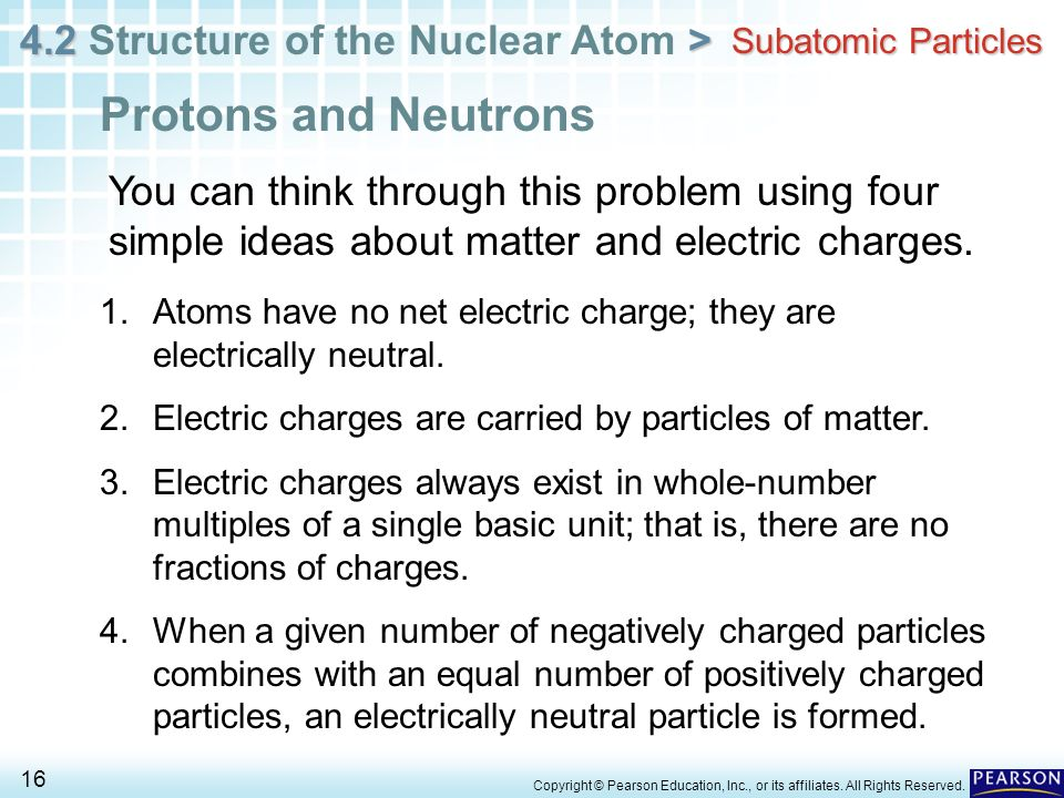 4.2 > 4.2 Structure of the Nuclear Atom > 16 Copyright © Pearson Education, Inc., or its affiliates. All Rights Reserved. Subatomic Particles Protons