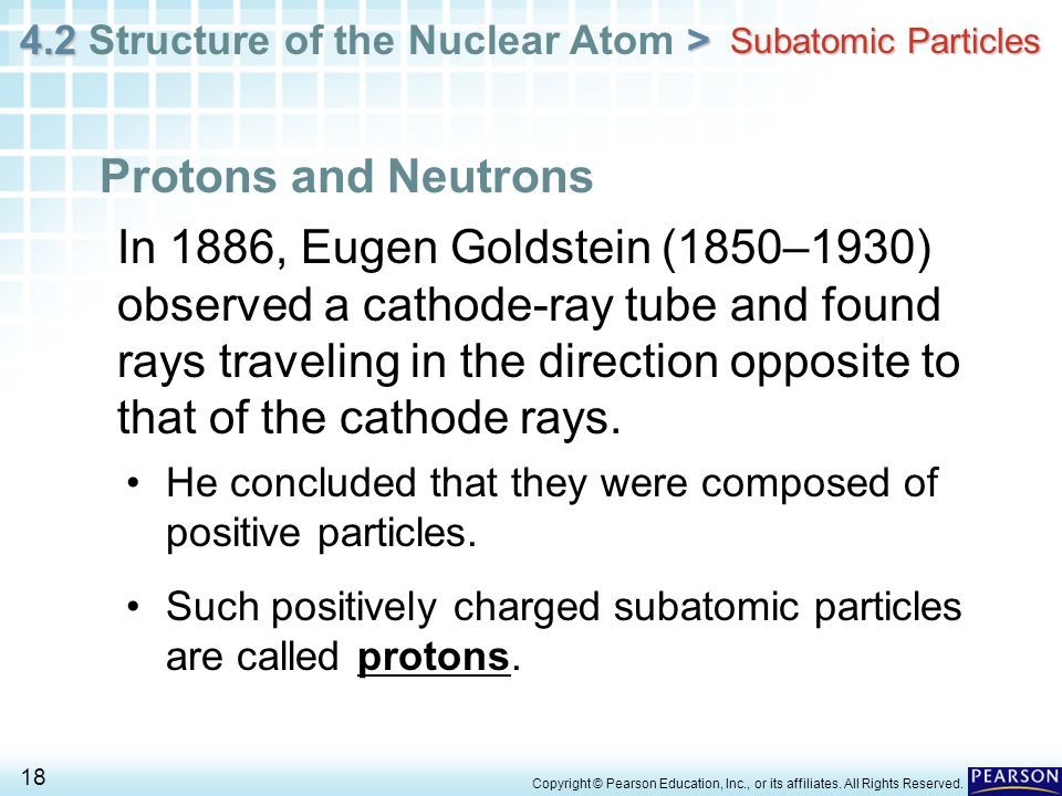 4.2 > 4.2 Structure of the Nuclear Atom > 18 Copyright © Pearson Education, Inc., or its affiliates. All Rights Reserved. Subatomic Particles Protons