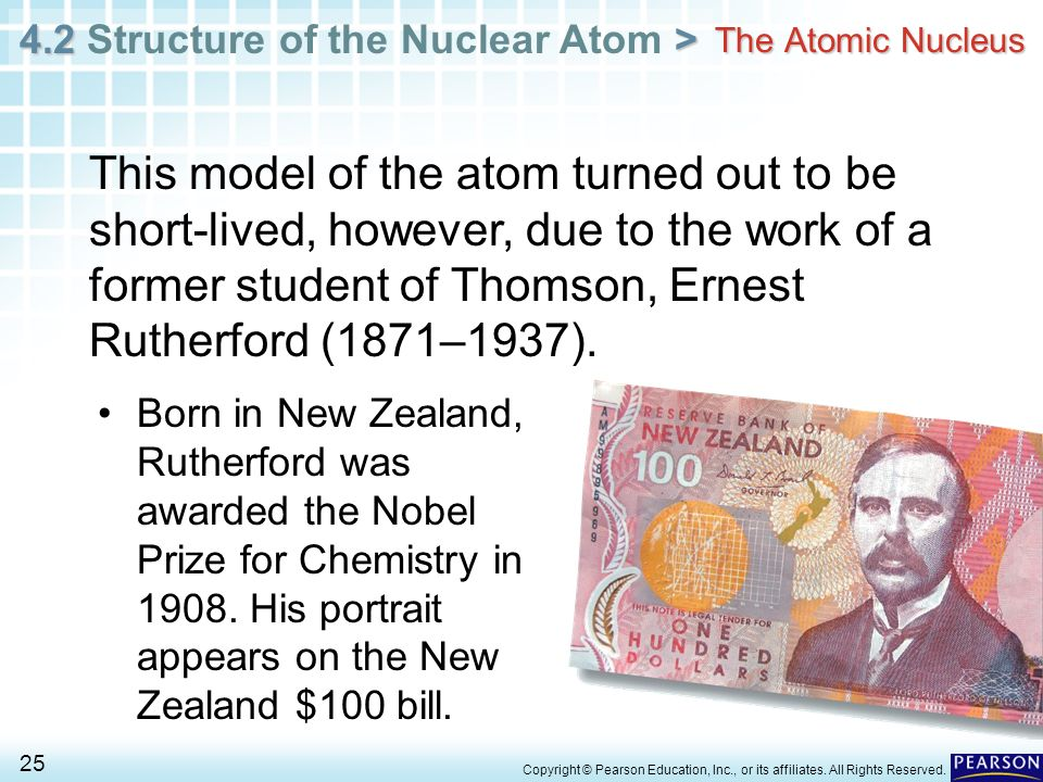 4.2 > 4.2 Structure of the Nuclear Atom > 25 Copyright © Pearson Education, Inc., or its affiliates. All Rights Reserved. Born in New Zealand, Rutherf