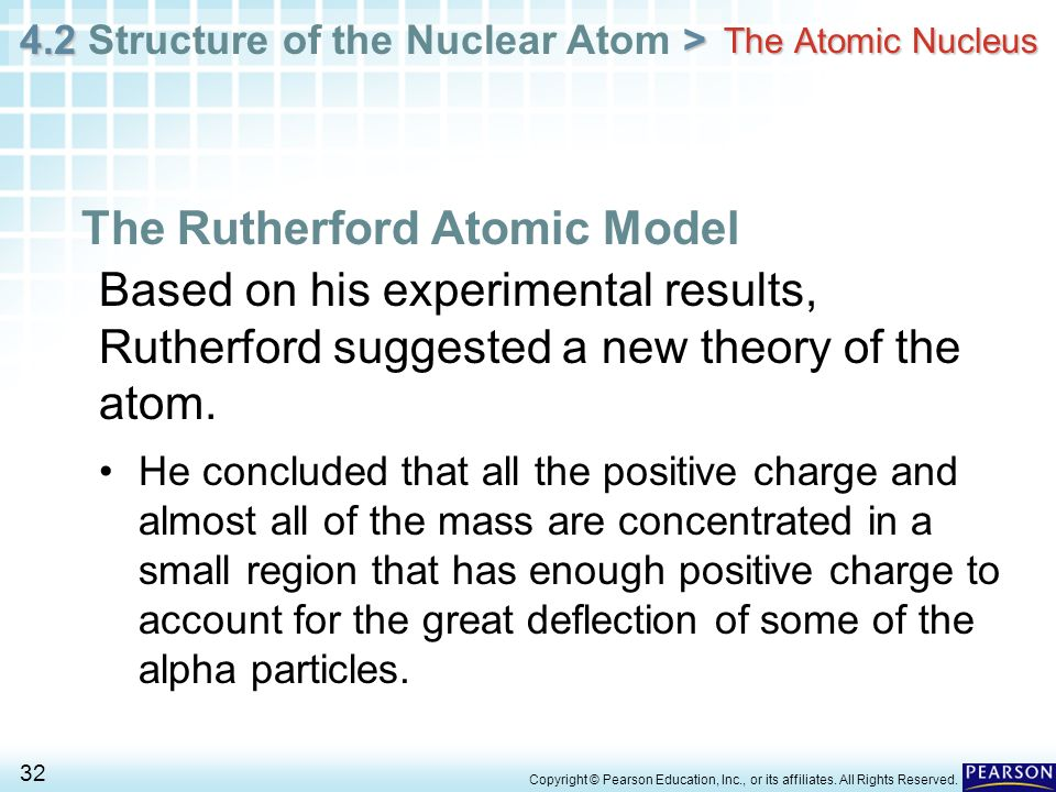 4.2 > 4.2 Structure of the Nuclear Atom > 32 Copyright © Pearson Education, Inc., or its affiliates. All Rights Reserved. The Atomic Nucleus The Ruthe
