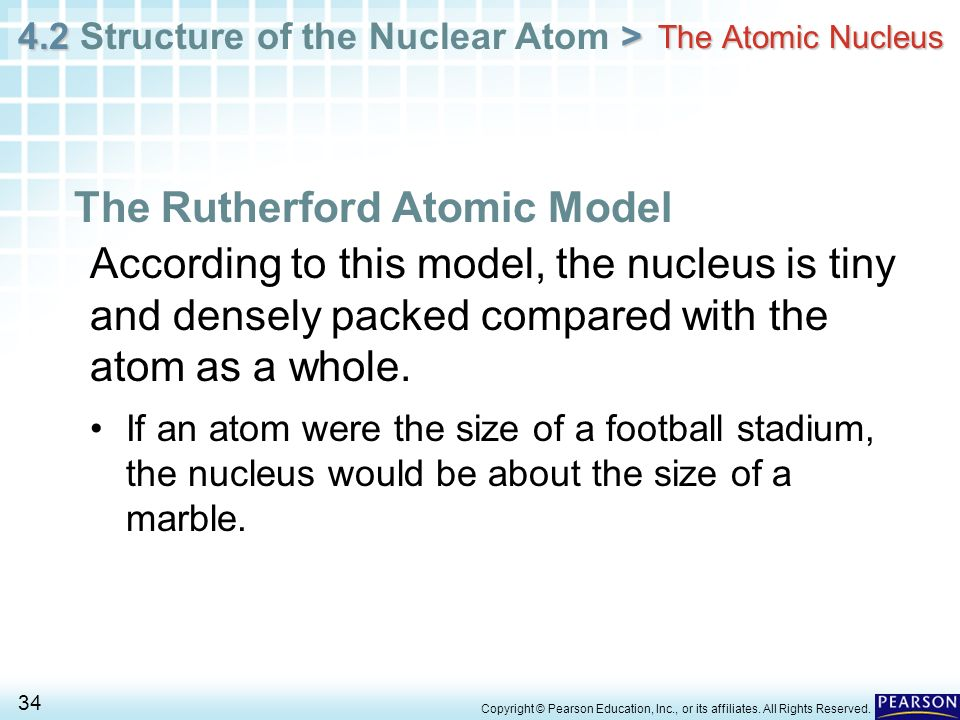 4.2 > 4.2 Structure of the Nuclear Atom > 34 Copyright © Pearson Education, Inc., or its affiliates. All Rights Reserved. The Atomic Nucleus The Ruthe