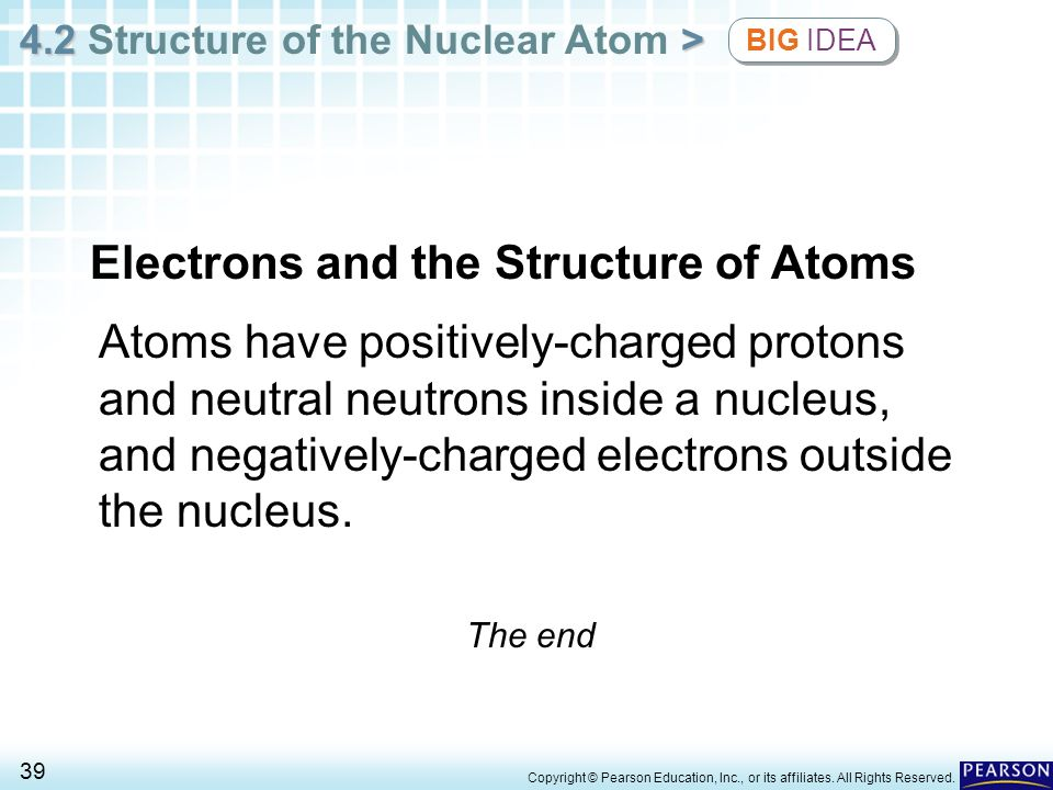 4.2 > 4.2 Structure of the Nuclear Atom > 39 Copyright © Pearson Education, Inc., or its affiliates. All Rights Reserved. Atoms have positively-charge