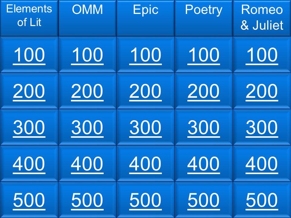 100 200 300 400 500 Elements of Lit OMMEpicPoetryRomeo & Juliet