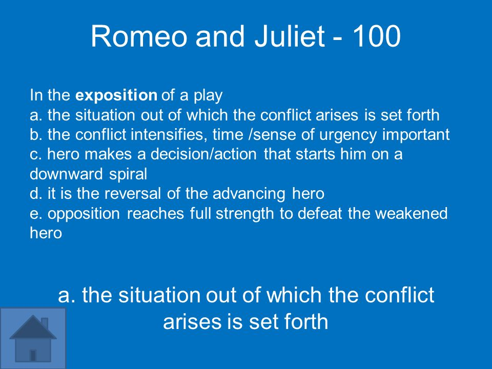 Romeo and Juliet - 100 In the exposition of a play a. the situation out of which the conflict arises is set forth b. the conflict intensifies, time /s