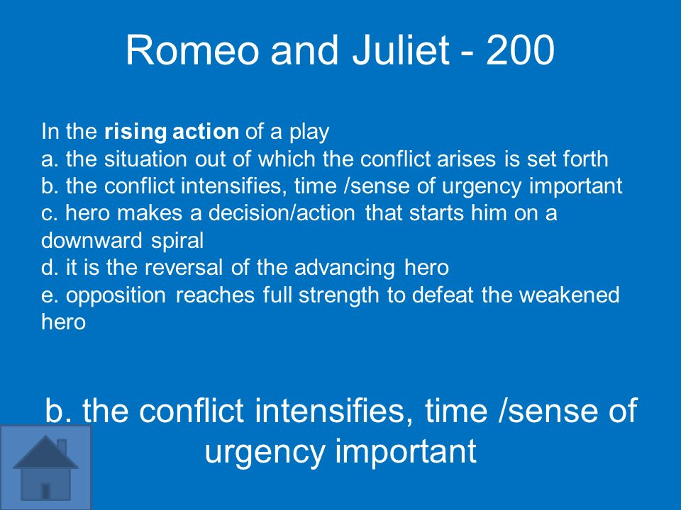 Romeo and Juliet - 200 In the rising action of a play a. the situation out of which the conflict arises is set forth b. the conflict intensifies, time