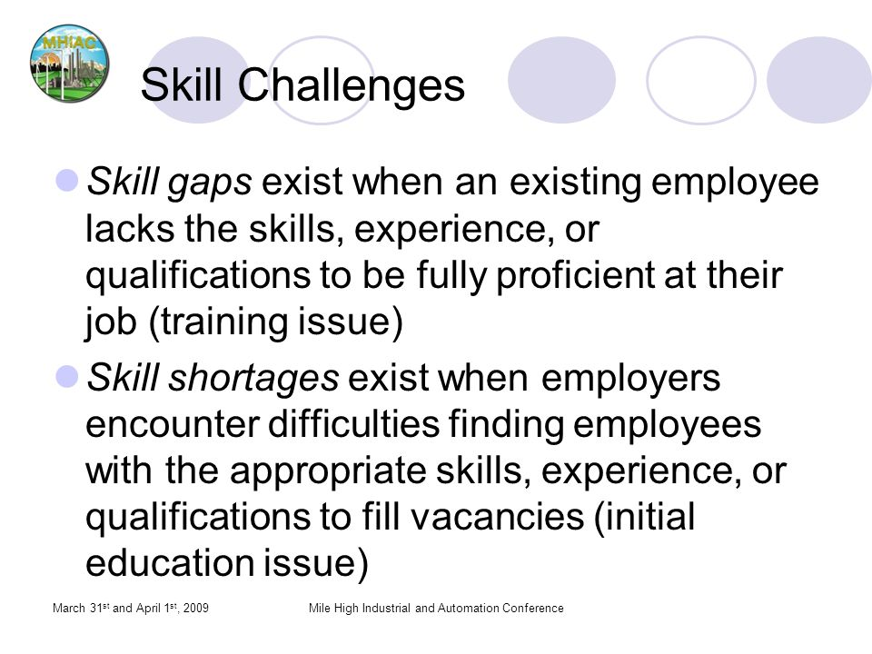 Skill Challenges Skill gaps exist when an existing employee lacks the skills, experience, or qualifications to be fully proficient at their job (train