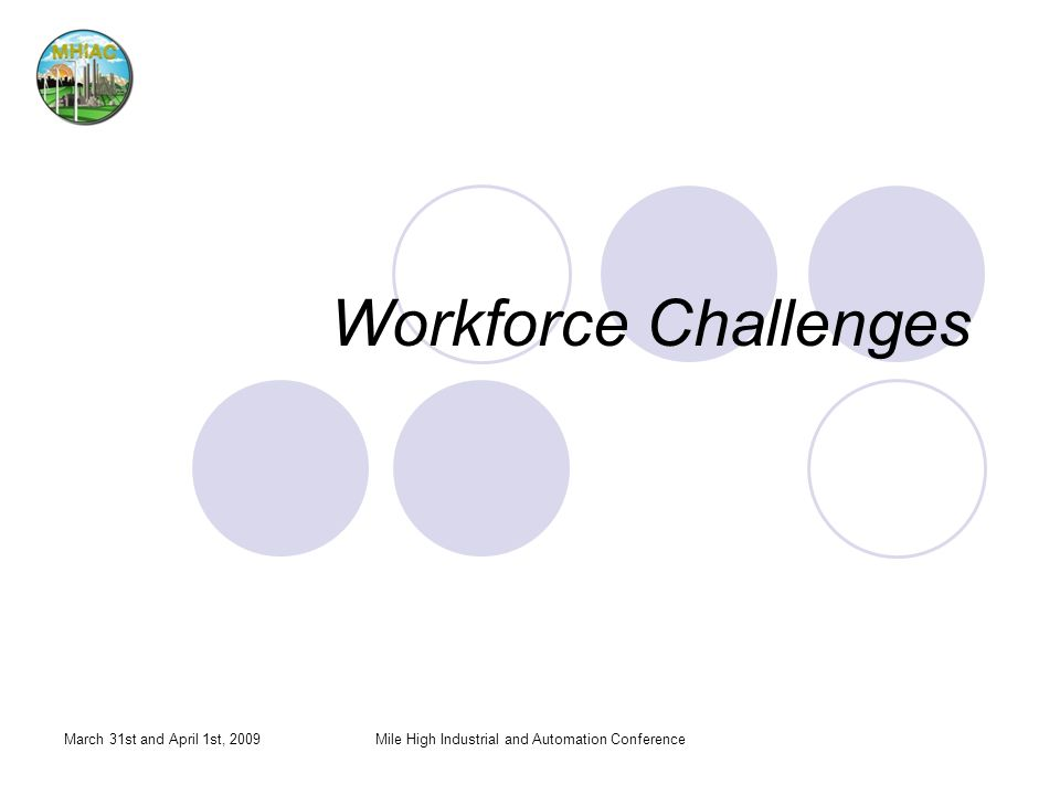 Workforce Challenges March 31st and April 1st, 2009Mile High Industrial and Automation Conference