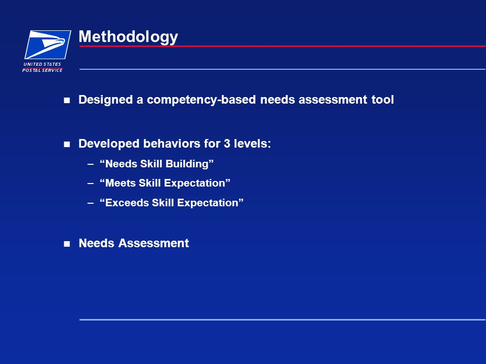 Methodology Designed a competency-based needs assessment tool Developed behaviors for 3 levels: –Needs Skill Building –Meets Skill Expectation –Exceed