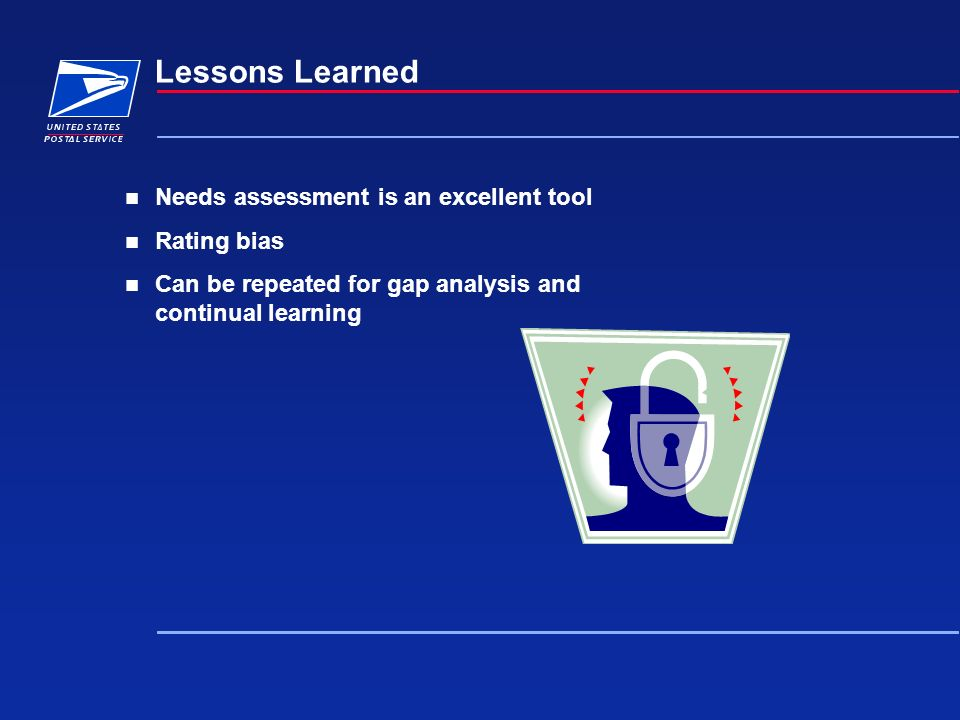 Lessons Learned Needs assessment is an excellent tool Rating bias Can be repeated for gap analysis and continual learning