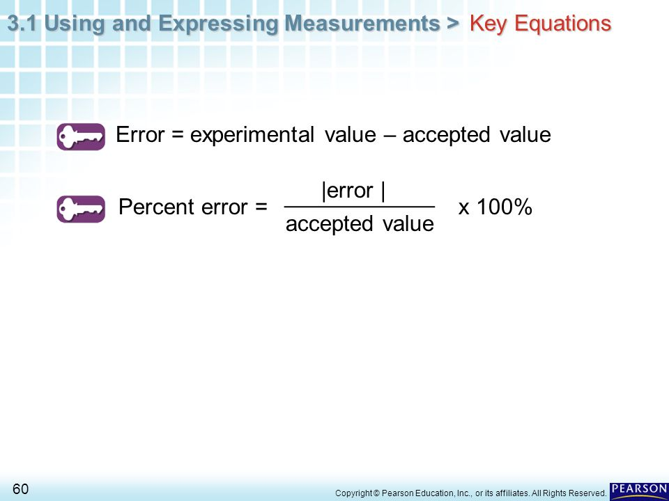3.1 Using and Expressing Measurements > 60 Copyright © Pearson Education, Inc., or its affiliates. All Rights Reserved. Error = experimental value – a