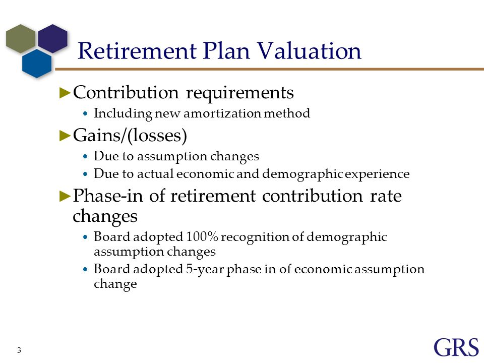 3 Retirement Plan Valuation Contribution requirements Including new amortization method Gains/(losses) Due to assumption changes Due to actual economic and demographic experience Phase-in of retirement contribution rate changes Board adopted 100% recognition of demographic assumption changes Board adopted 5-year phase in of economic assumption change