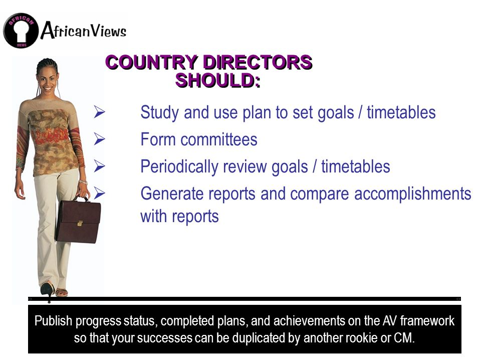 COUNTRY DIRECTORS SHOULD: Study and use plan to set goals / timetables Form committees Periodically review goals / timetables Generate reports and com