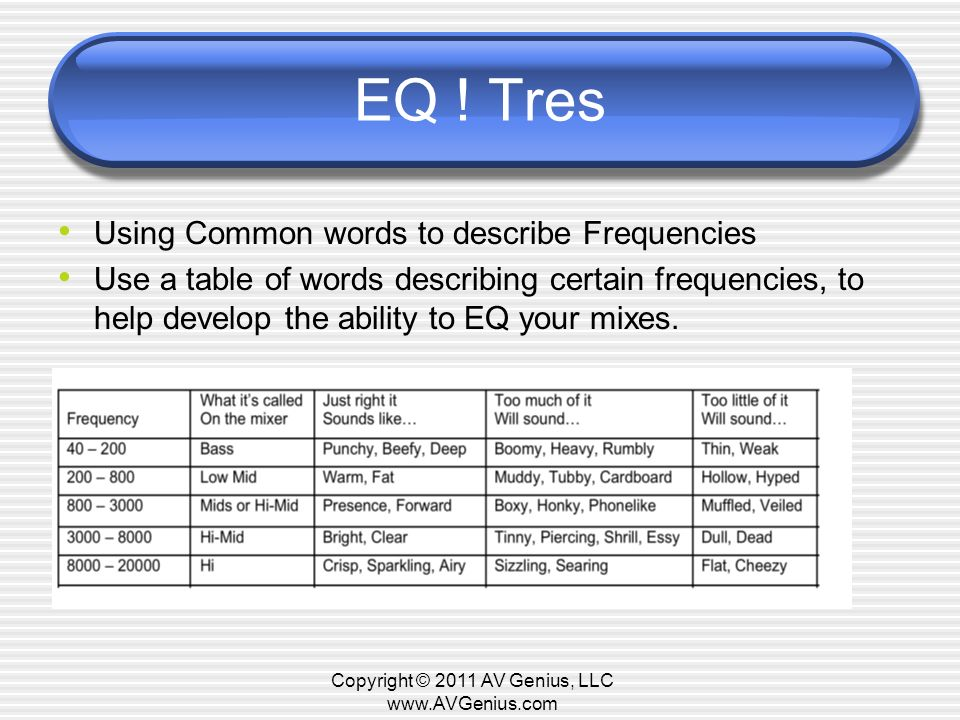 EQ ! Tres Using Common words to describe Frequencies Use a table of words describing certain frequencies, to help develop the ability to EQ your mixes