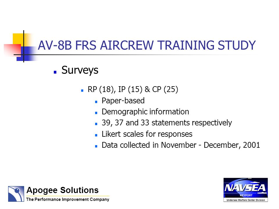AV-8B FRS AIRCREW TRAINING STUDY Surveys RP (18), IP (15) & CP (25) Paper-based Demographic information 39, 37 and 33 statements respectively Likert s