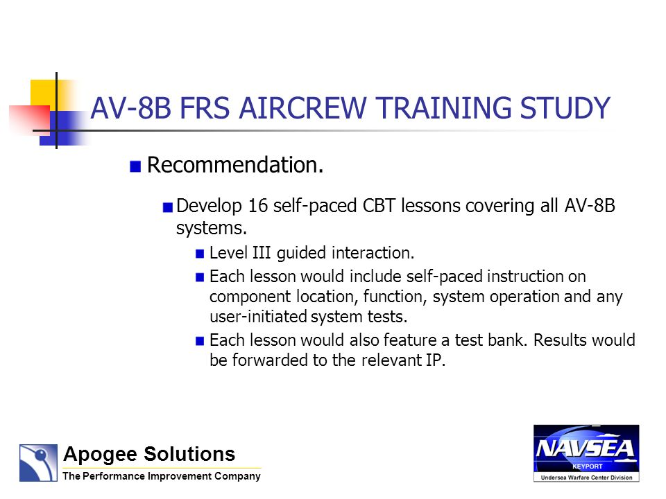AV-8B FRS AIRCREW TRAINING STUDY Recommendation. Develop 16 self-paced CBT lessons covering all AV-8B systems. Level III guided interaction. Each less