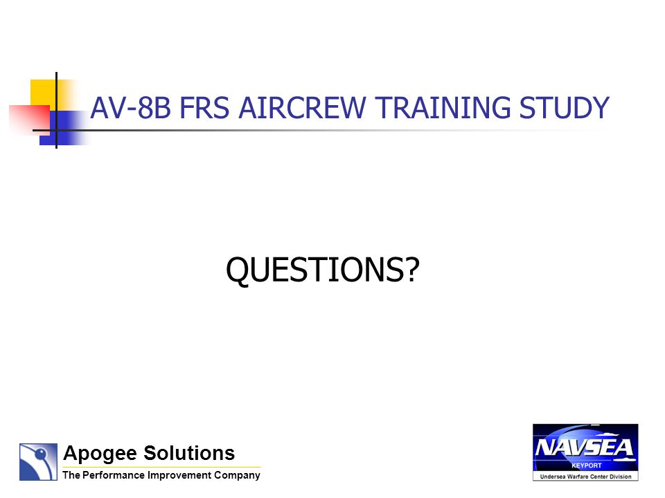 AV-8B FRS AIRCREW TRAINING STUDY QUESTIONS Apogee Solutions The Performance Improvement Company