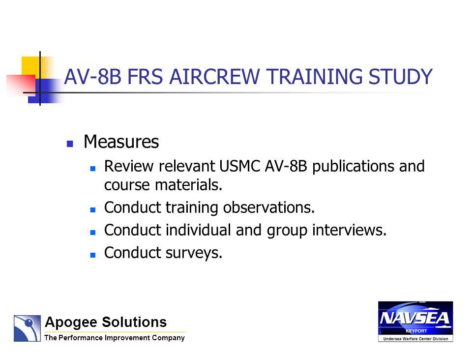 AV-8B FRS AIRCREW TRAINING STUDY AV-8B Material Reviews Included: Training and Readiness Manual (T&R) Feb.