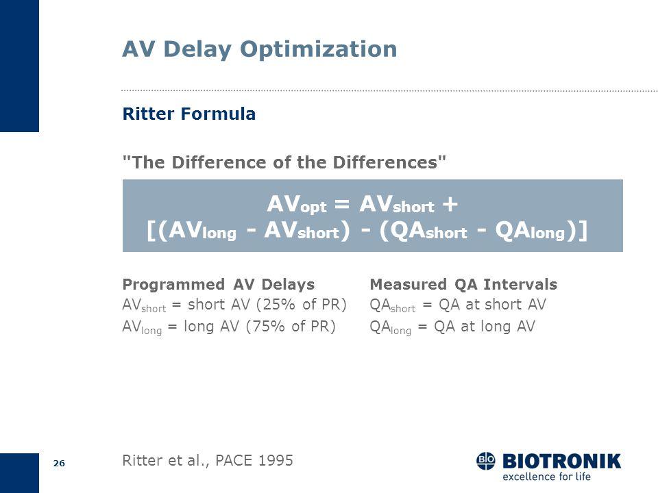 25 AV Optimization Short AV DelayLong AV Delay Ritter Formula P A QA A wave truncation Forced MVC E P A E Spontaneous MVC QA AV