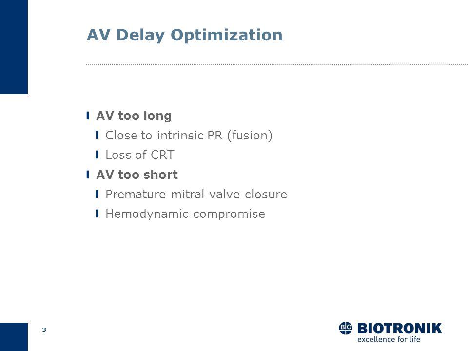2 AV Delay Optimization Ensure BiV pacing Improve diastolic filling Reduce mitral regurgitation Cardiac Output Goals