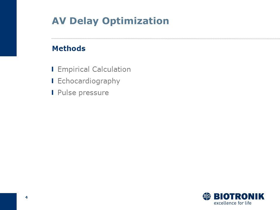 3 AV Delay Optimization AV too long Close to intrinsic PR (fusion) Loss of CRT AV too short Premature mitral valve closure Hemodynamic compromise