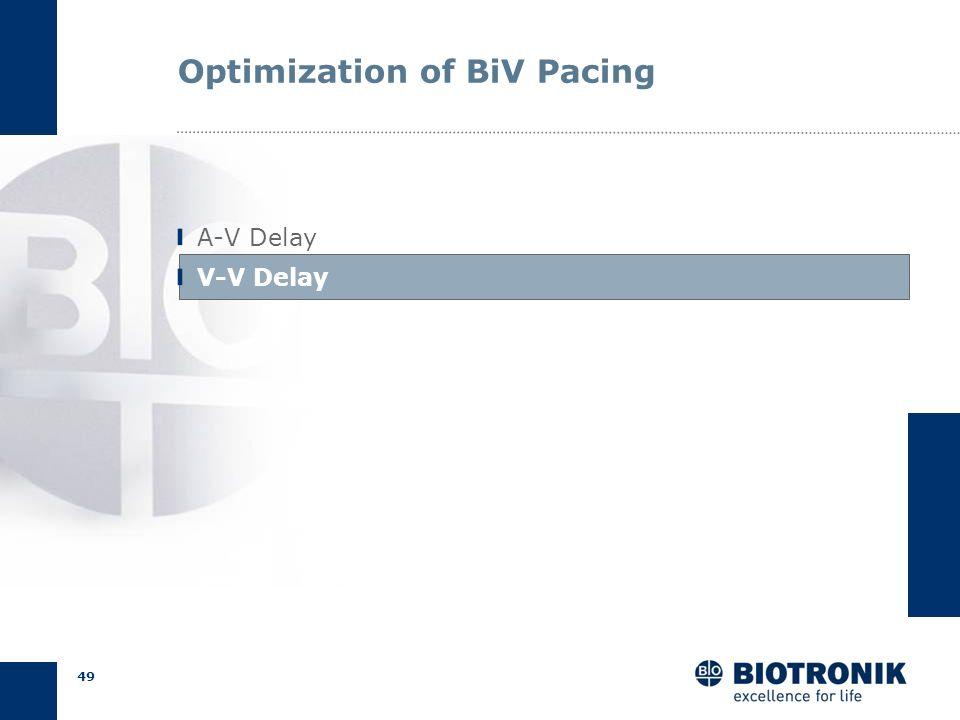48 AV Delay Optimization Pulse pressure: hemodynamic testing Calculation: initial programming Doppler Echo: non-responders Summary