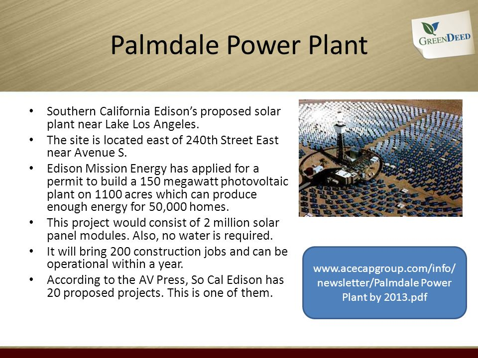 Palmdale Power Plant Southern California Edisons proposed solar plant near Lake Los Angeles.