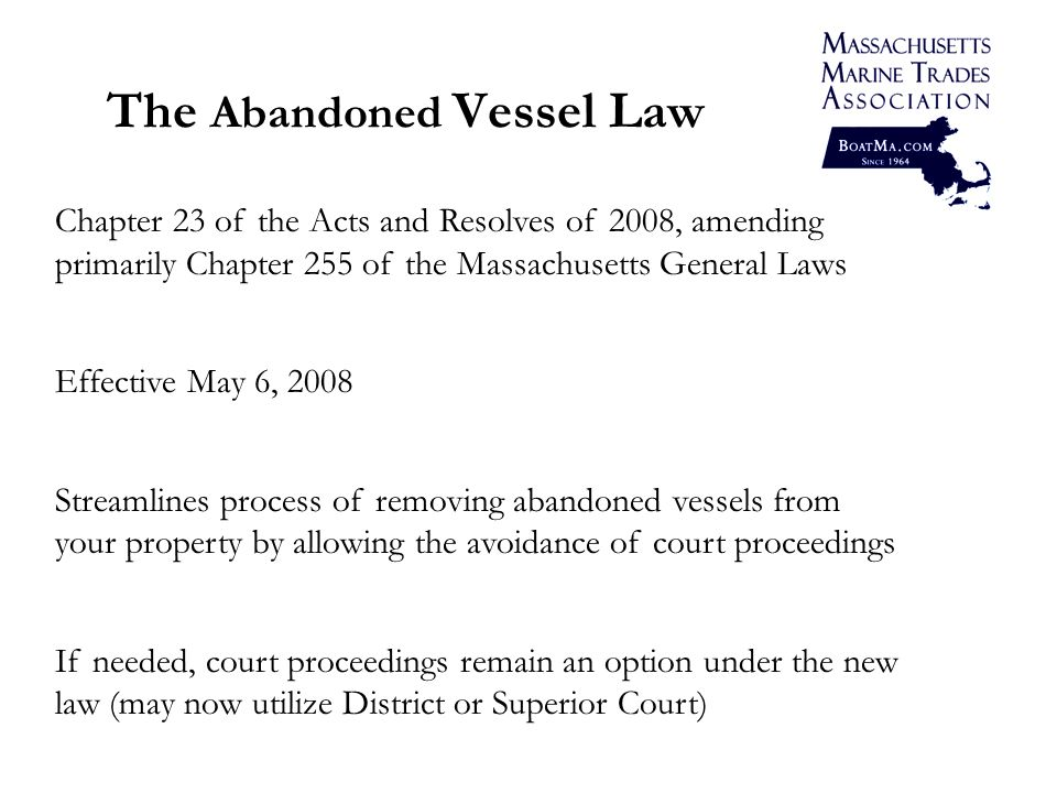 4 Getting Started Certified Mail Notice: Send to any owner of record, at the last known address, of the 1) amount of the lien and 2) proposed disposition or sale of the vessel.