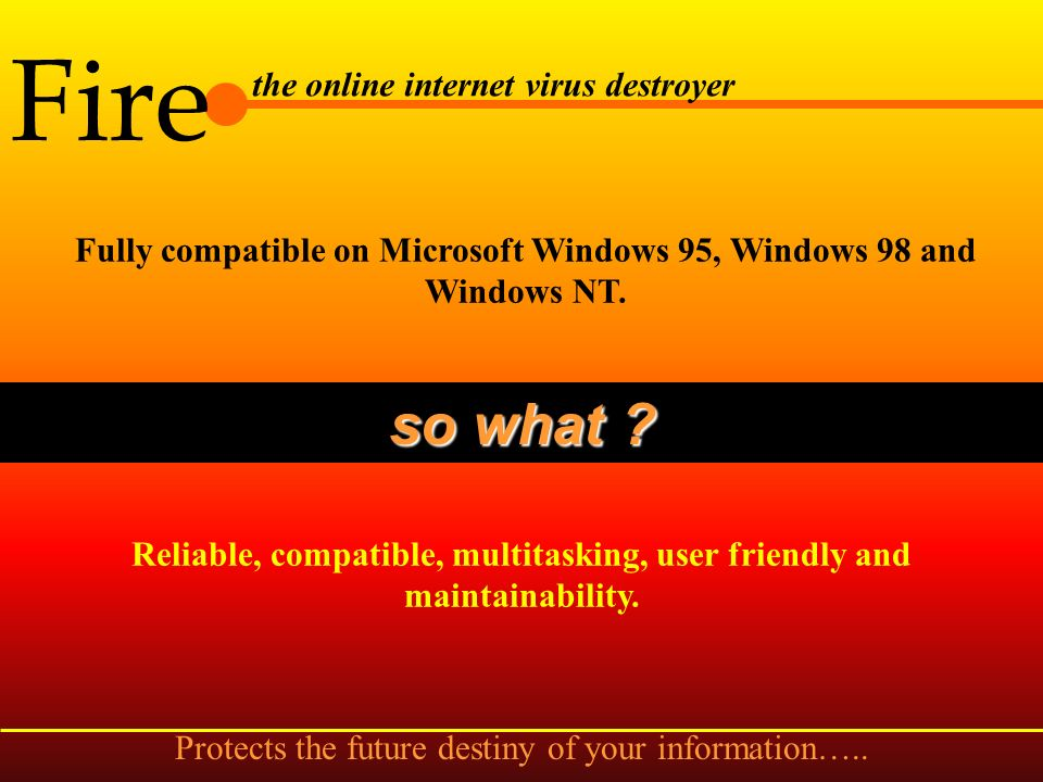Fire the online internet virus destroyer Sentry watchdog for Internet, Scan boot sectors of floppy disk, Watch file process and System shutdown scan.