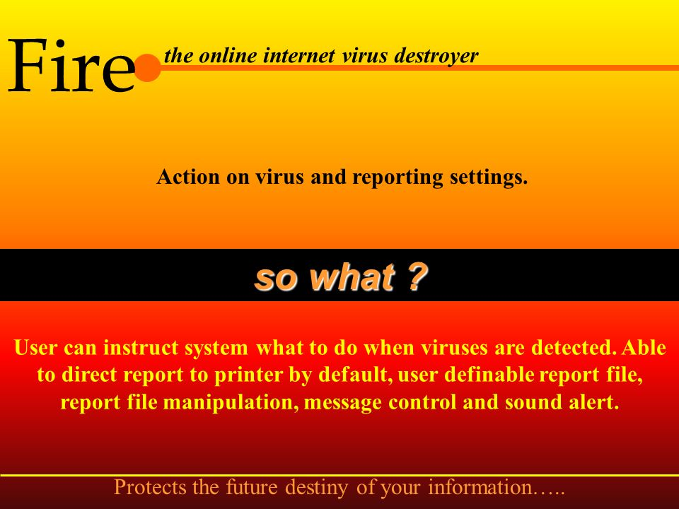 Fire the online internet virus destroyer Advance options settings for startup and integrity so what .