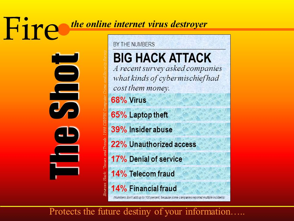 Fire the online internet virus destroyer The Source Source: NCSA 1998 Virus Survey