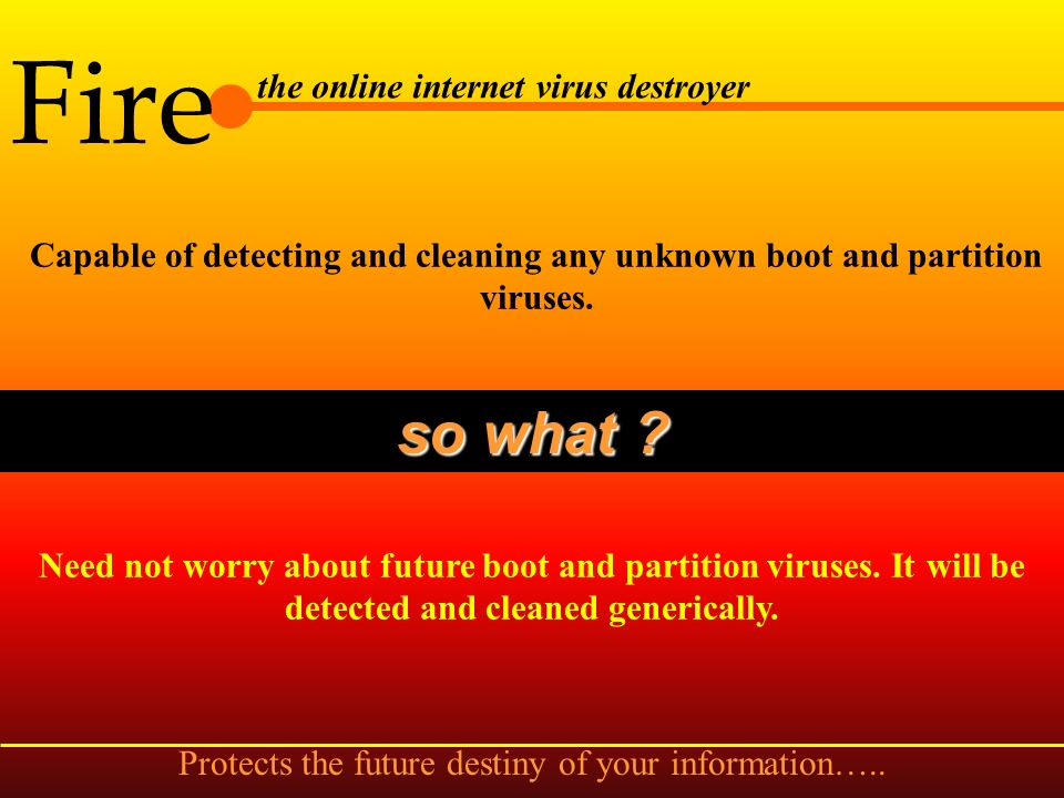 Fire the online internet virus destroyer Memory, partition table, boot area, file scan enabler so what .