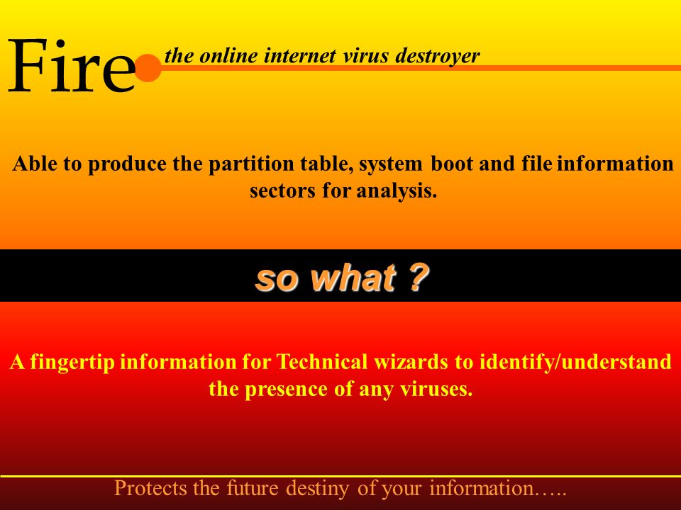 Fire the online internet virus destroyer Capable of detecting and cleaning known and unknown file viruses due to the incorporated integrity check. so