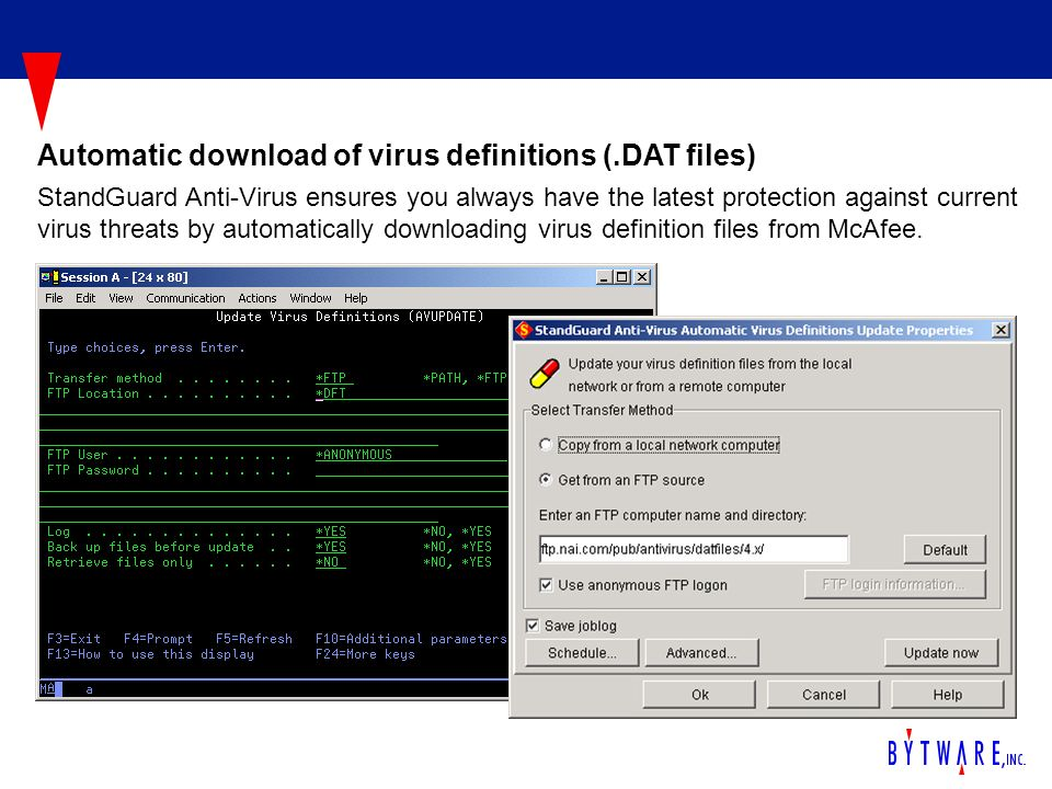 StandGuard Anti-Virus ensures you always have the latest protection against current virus threats by automatically downloading virus definition files