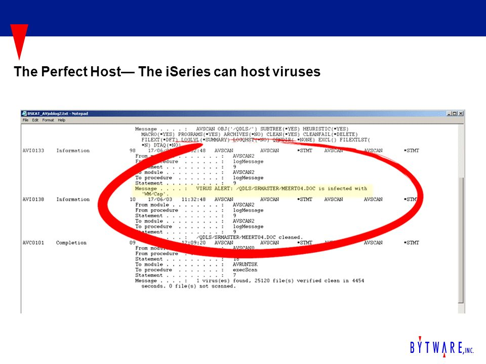 The Perfect Host The iSeries can host viruses