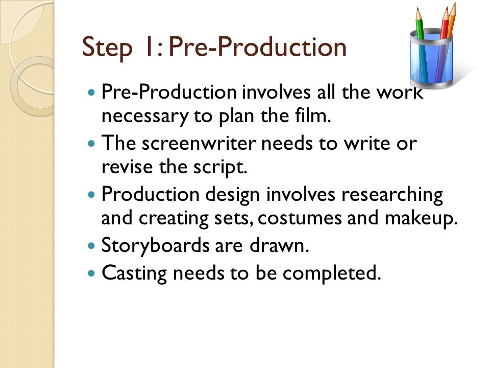The Production Process There are three stages of the production process. Pre-Production Production Post-Production