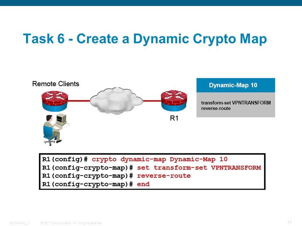 © 2007 Cisco Systems, Inc. All rights reserved.ISCW-Mod3_L7 11 Task 6 - Create a Dynamic Crypto Map
