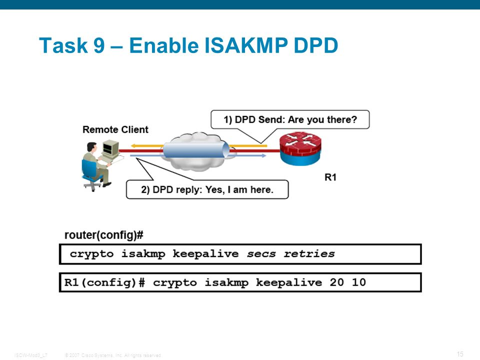 © 2007 Cisco Systems, Inc. All rights reserved.ISCW-Mod3_L7 15 Task 9 – Enable ISAKMP DPD