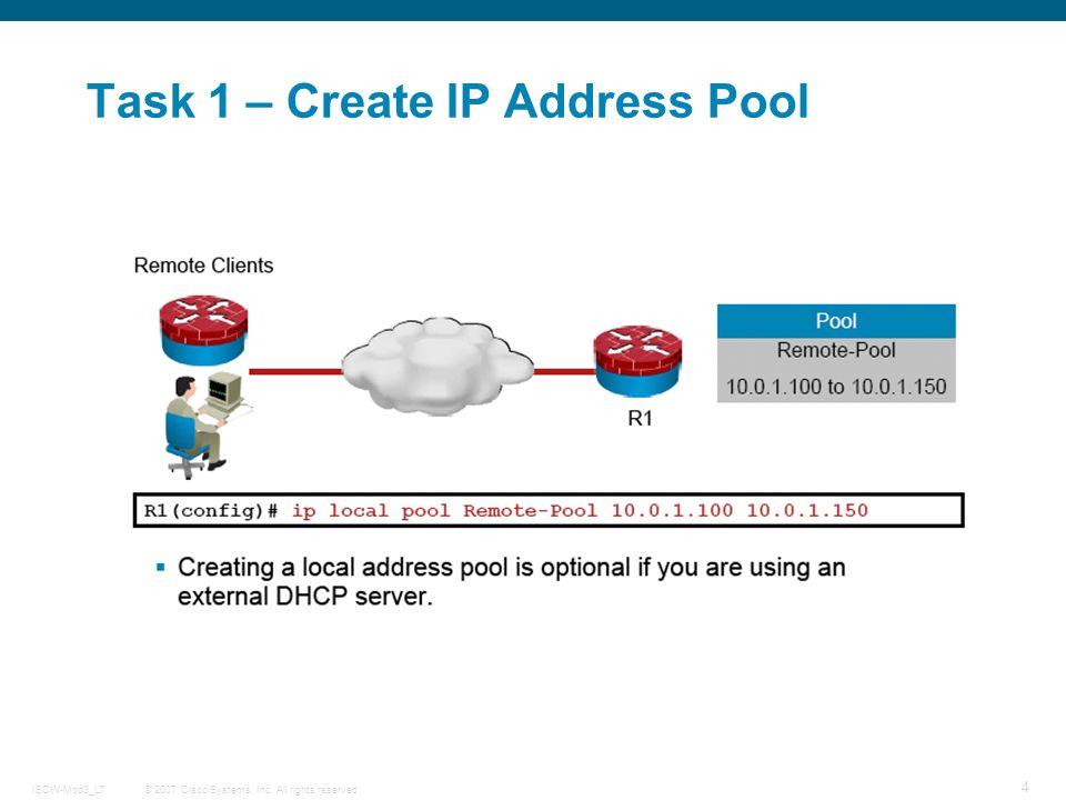 © 2007 Cisco Systems, Inc. All rights reserved.ISCW-Mod3_L7 4 Task 1 – Create IP Address Pool