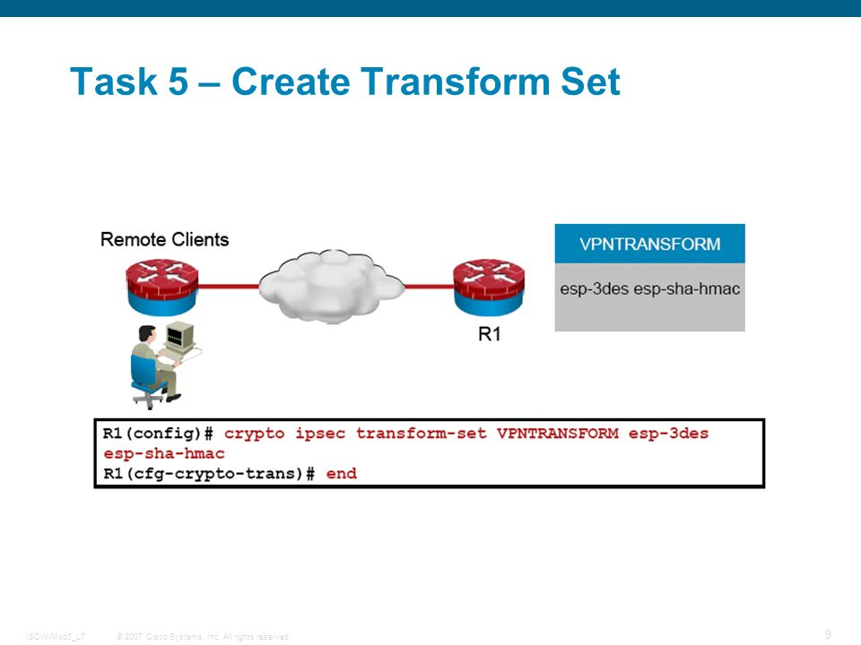 © 2007 Cisco Systems, Inc. All rights reserved.ISCW-Mod3_L7 9 Task 5 – Create Transform Set