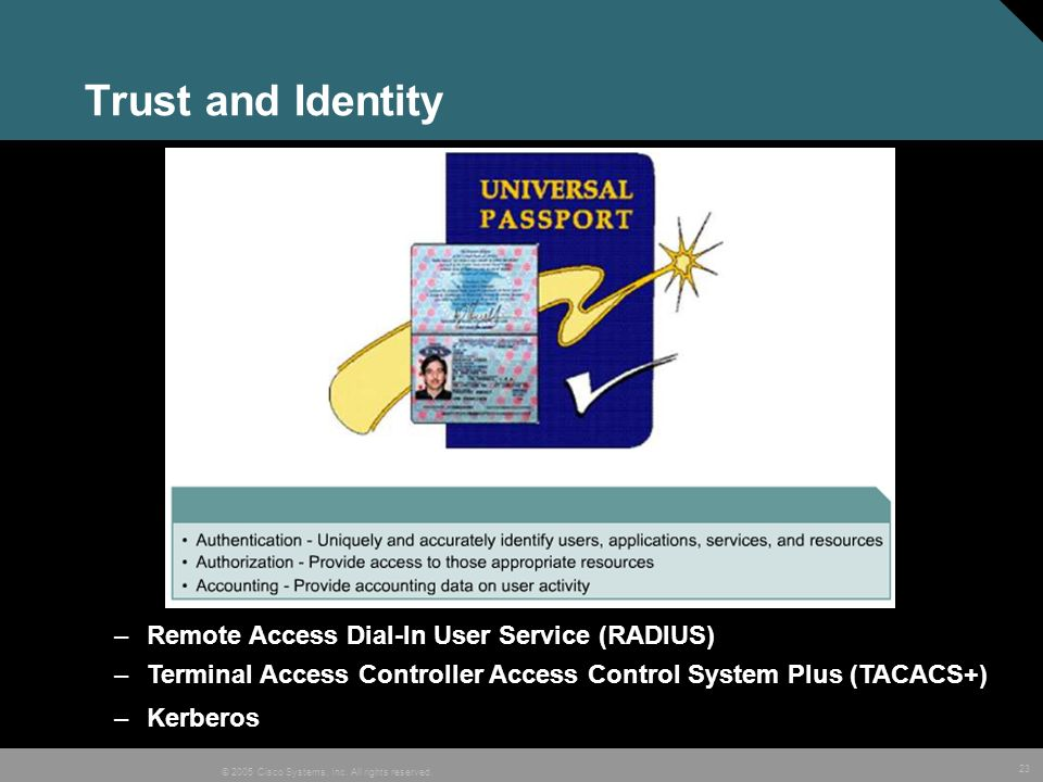 23 © 2005 Cisco Systems, Inc. All rights reserved. Trust and Identity –Remote Access Dial-In User Service (RADIUS) –Terminal Access Controller Access