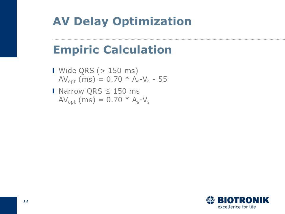 11 AV Delay Optimization Intrinsic AV (As-Vs) from IEGM recording Intrinsic QRS width from 12-lead ECG Measurements