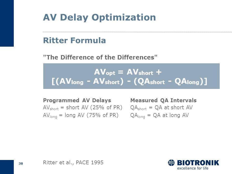 37 AV Optimization Short AV DelayLong AV Delay Ritter Formula P A QA A wave truncation Forced MVC E P A E Spontaneous MVC QA AV