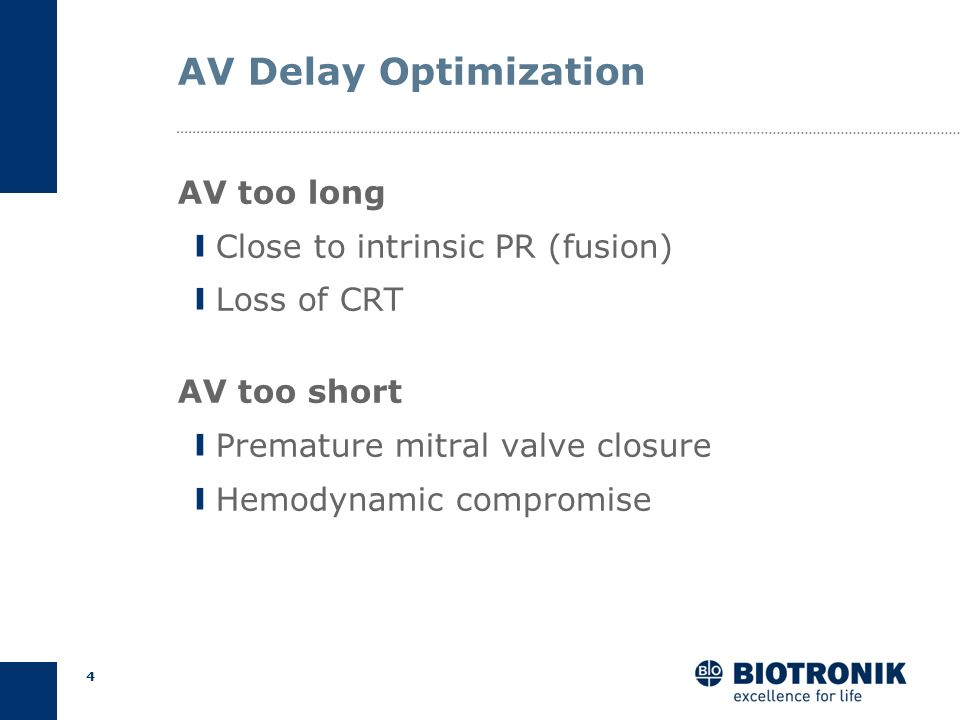 3 AV Delay Optimization Ensure BiV pacing Improve diastolic filling Reduce mitral regurgitation Cardiac Output Goals